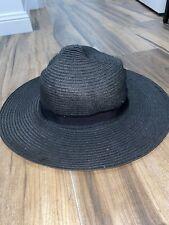 Witchery women's paper fabric straw beach hat one size black wide brim