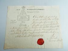 Dänische Urkunde Søllerød 1819 über August Wilhelm Franz von LINSTOW, sign. BACH