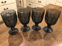 "Set of 4 - Vintage Libbey Duratuff Gibraltar Dark Blue Goblets Heavy 7"" USA"