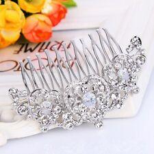 Bridal Wedding Clear Austrian Crystal Silver Heart Hair Clip Comb Head Piece