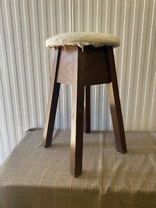 Mid Century Oak? Stool In Need Of Upholstering