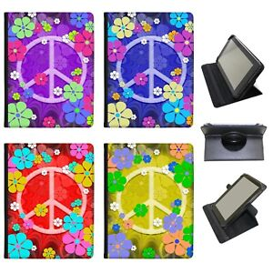 Azzumo Hippy Flower Power Peace Sign PU Leather Case for the Lenovo Tablet