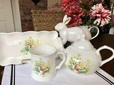 Easter Bunny Rabbit in the Garden 3 Pc Tea Set by Grace Tea Pot Cuoe Mug Tray