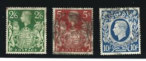 Set 3 King George 6th High Value (2'6 / 5 / 10 Shilling) Stamps