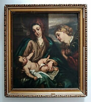 Antique Oil Painting Holy Family Mary and Jesus w/ Angel Religious Art Signed