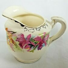 "Vintage Creamer Pitcher Pungarehu New Zealand 3"" Floral Purple & Yellow"