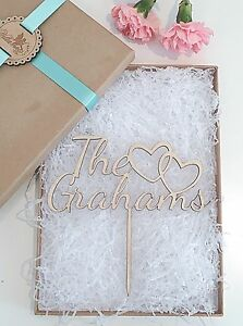 Personalised Wooden Wedding Cake Topper - Surname