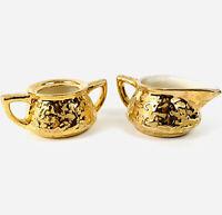 Vintage McCoy Art Pottery USA 24K Bleeding Gold Creamer & Sugar Bowl-No Lid
