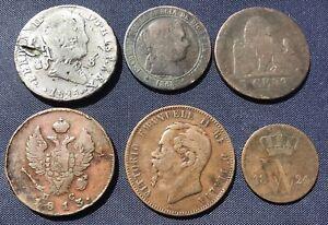 6 19th C European Cu Coins. Russian 2 Kopek 1813, Ferdinand VII 1825 8 Maravedis