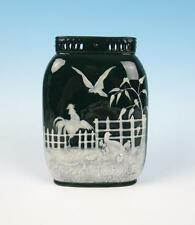 Antique English Pate-Sur-Pate Vase Minton or George Jones Pottery Porcelain Bird