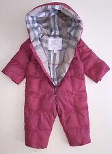 AUTHENTIC BURBERRY PINK CHECK KIDS INFANT BABY SNOWSUIT COAT JACKET 6M 9M