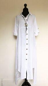 New Made In Italy Lagenlook White Linen Shirt Dress - UK 12 14 16