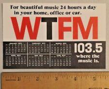 Vintage 1973 WTFM 103.5 FM Radio Station Finder Calendar Card RARE