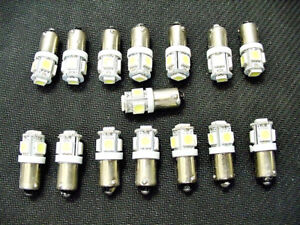 15 COOL White 5 LED Instrument Panel Dashboard Lights Bulbs BA9S 1895 1815 Chevy