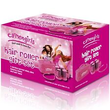 Carmen Girls Heated Hair Roller Styling Gift Set with Travel Bag & Hairband Pink