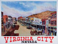 VINTAGE Original VIRGINIA CITY Nevada TRAVEL POSTER Art Print WESTERN Reno MINT