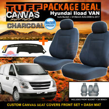 TUFF Canvas Hyundai Iload Seat Covers & Dash Mat PACKAGE DEAL I-LOAD AIRBAG SAFE