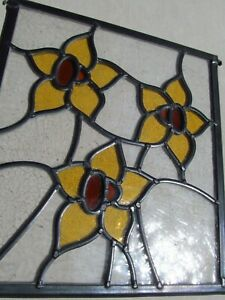 Newly crafted Stained Glass Window Panel FLORAL DESIGN 264mm by 290mm UNIQUE