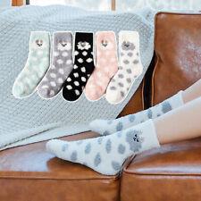 Thicken Warm Middle Tube Socks Sleeping Floor Socks Coral Fleece Cartoon Hosiery
