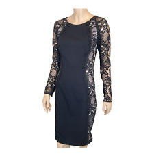 THURLEY Dress sz 10 S Black Lace Long Sleeve Bodycon Fitted Sheath LBD  .I23