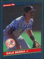 Original Autograph of Dale Berra of the NY Yankees on a 1986 Donruss Card