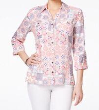 Jm Collection Petite Multicolor Tile-Print Shirt, Bohemanian Patch Pink, 12P