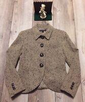 Lafayette 148 NY Blazer Size 2 Jacket Women's Gray Beige Wool Cashmere New