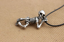 Mens Womens Stainless Steel Skull Pendant Leather Cord Necklace + Box NL29