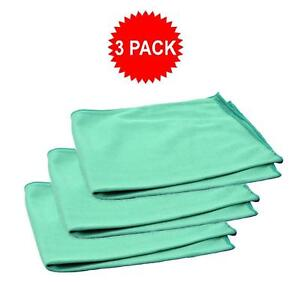 3pk Real Clean 16x16 Microfiber Green Window Glass Towels For Home Auto No Lint