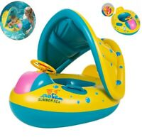 Adjustable Inflatable Sunshade Baby Kid Float Seat Boat Swim Pool Ring Wheel US