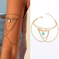 Openwork Auspicious Turquoise Tassel Pendant Drop Arm Chain Bracelet Beautiful