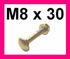 Stainless Carriage Bolts Coach Bolts + Nuts & Washers. M8x30  6 Pk