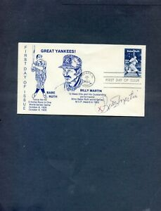 rare BILLY MARTIN hand signed  BABE RUTH  first day cover   GREAT PRICE