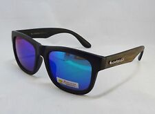 BioHazard Optics Sunglasses BLACK with BROWN Wood Grain Design Unisex Men New