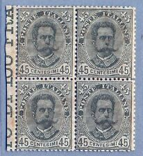 1891- Umberto I-Terza Serie 45c verde quartina integra bd foglio cat Bolaffi 122