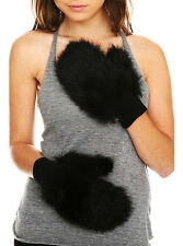 Black  Fur Mittens Gloves from Hot Topic