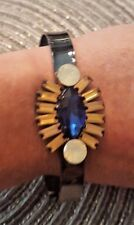 Blue Crystal Mosiac Black Metal Cuff