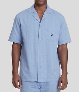 $125 Nautica Men's Blue Cotton Pajama Herringbone Logo Sleepwear Shirt Size S