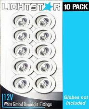 10 x White Gimbal Downlight Fittings 12V MR16 Low Voltage - 90mm cutout Gimble
