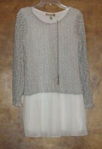 """NWT-Speechless Girls Size 10, LS Dress w/14"""" necklace, Gray, Silver and White"""