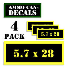 "5.7 X 28 Ammo Can 4x Labels Ammunition Case 3""x1.15"" stickers decals 4 pack YW"