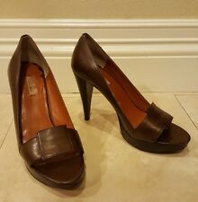 Max Studio Foray Brown Leather Open Toe Heels 6M