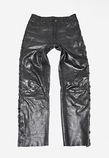 "Black Leather Lace Up Biker Motorcycle Men's Trousers Pants Jeans Size W29"" L29"""