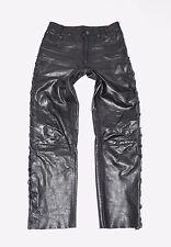 "Black Leather Lace Up Biker Motorcycle Men's Trousers Pants Jeans Size W29"" L29"""