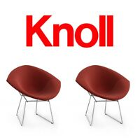 2 Knoll Bertoia Diamond Chairs Lot Full Cover Florence Saarinen Eames MCM Danish