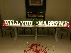 Proposal Will You Marry Me LED Letters 2000 Petals 2 Champagne Glass 100 Candles