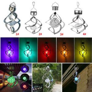 LED Solar Wind Chimes Light Waterproof Outdoor Garden Hanging Decor Spinner Lamp