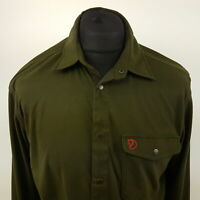 Fjällräven Mens Outdoor Soft Warm Shirt LARGE Long Sleeve Green Regular Fit