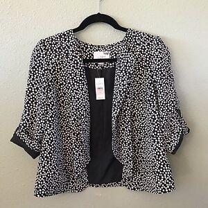 Ann Taylor Loft NWT Dress Career Jacket Sz S Lined Black White Polka Dots