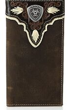 Ariat Mens Distressed Trim Shield Rodeo Western Leather Checkbook  Wallet-A35314